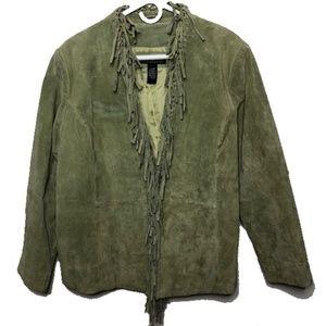 Dialogue washable suede green jacket fringe 1X